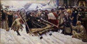Un tablou celebru de Surikov care prezintă epurarea vechilor credincioși .