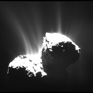 A November image of Comet 67P/Churyumov-Gerasimenko shows faint jets of gas and dust. Credit European Space Agency