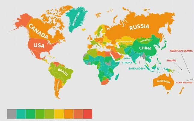 Harta obezităţii în lume