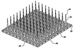 Schemă a matrice de electrozi Utah folosită pentru controlul minţii
