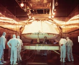 One of the Viking landers being prepared for dry heat sterilization.