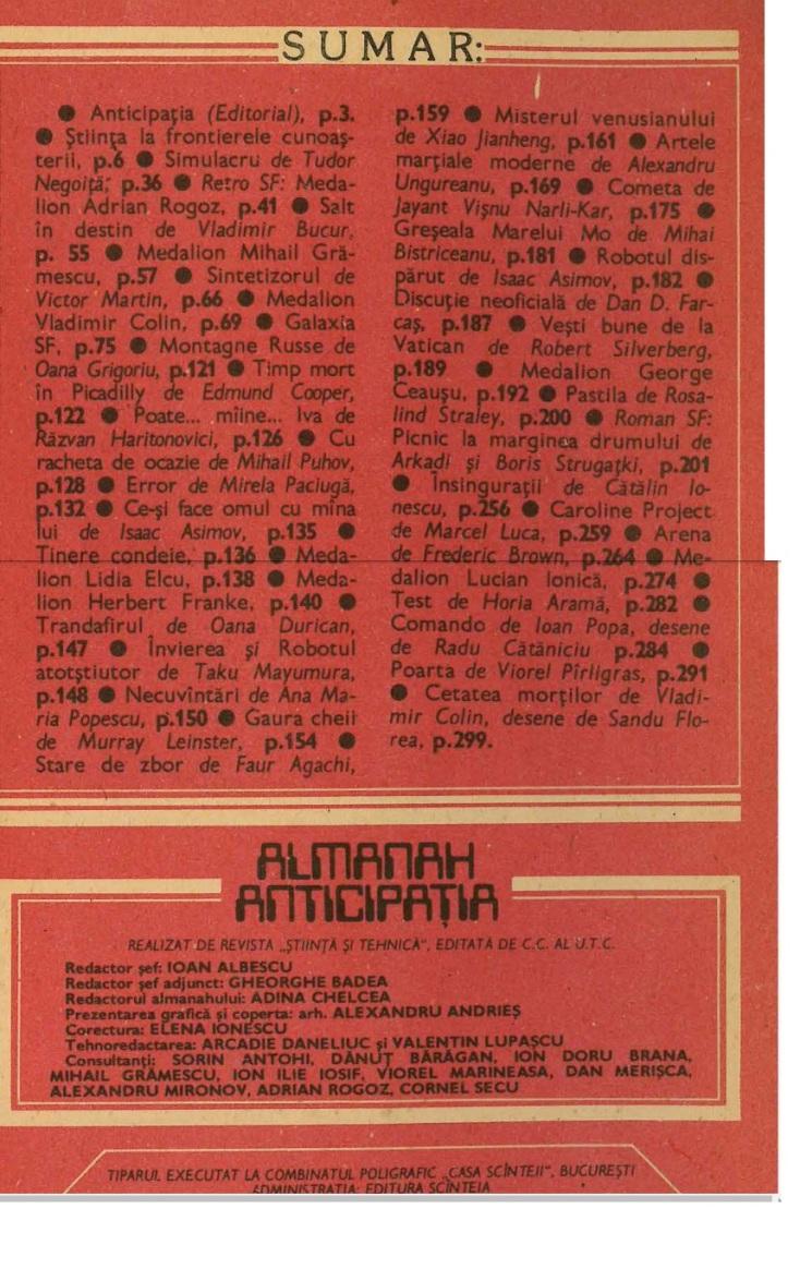almanah anticipatia 1985 cuprins