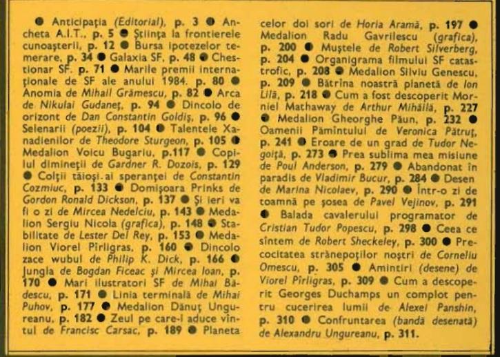 Almanah Anticipatia 1986 cuprins
