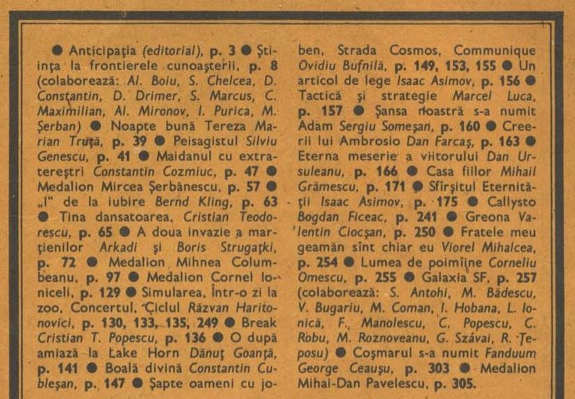 Almanah Anticipatia 1988 cuprins