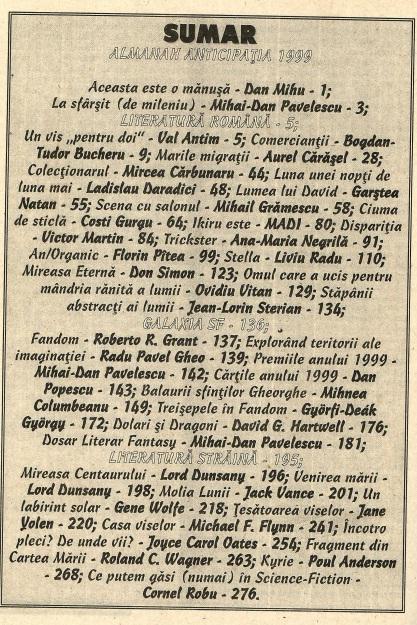 Almanah Anticipatia 1999-2000 cuprins