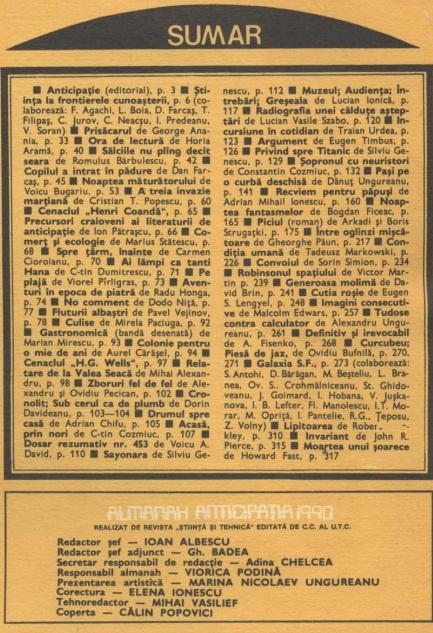 Almanah Anticipatia 1990 cuprins