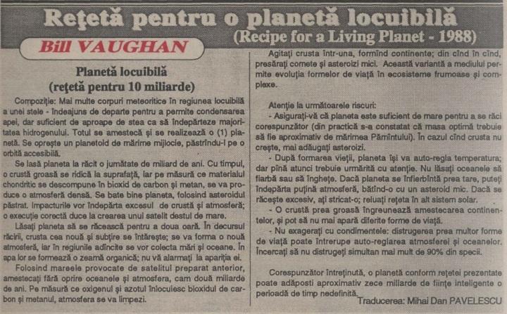 Bill Vaughan, Rețetă pentru o planetă locuibilă ( Recipe for a living planet, 1988)