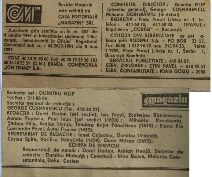 Revista Magazin 1991 caseta tehnică